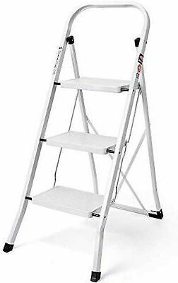 3 Step Ladder Folding Step Stool ladder with Handgrip Anti-s