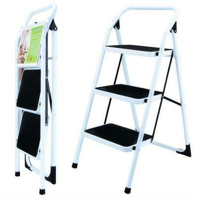 3 Step Home Use Ladder Folding Non Slip Safety Tread Heavy D