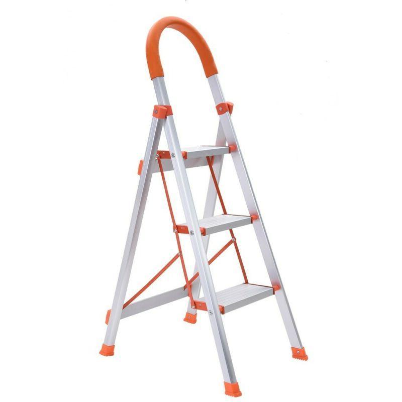 2/3 Step Ladder Folding Steel Step Stool Anti-slip 330Lbs Ca