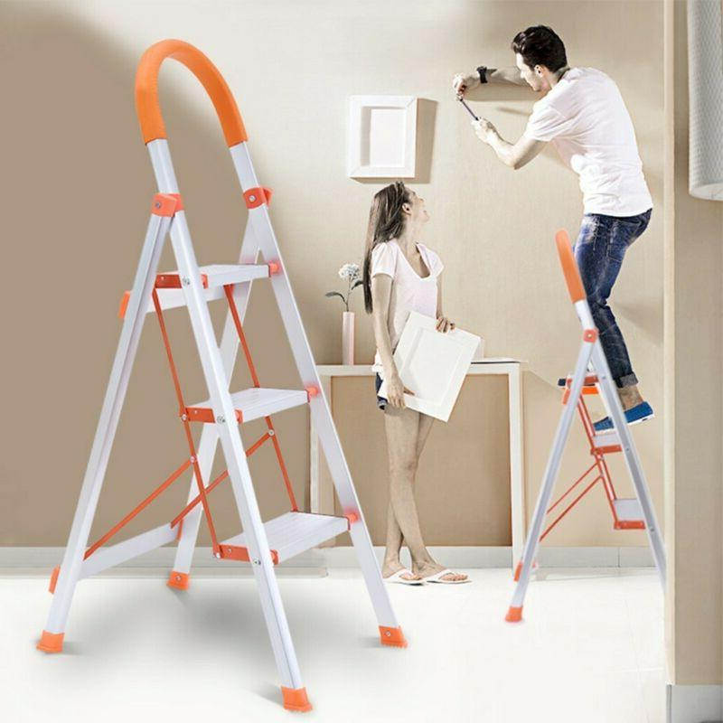 Home Non-slip 3 Steps Ladder Folding Grip Aluminum Step Stoo