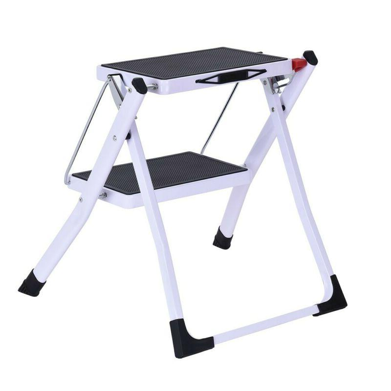 Portable 2 Step Folding Ladder Sturdy Wide Pedal