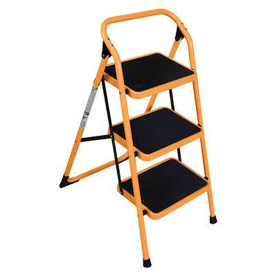 Durable 3 Step Ladder Folding Step Stool Anti-Slip 330Lbs Lo