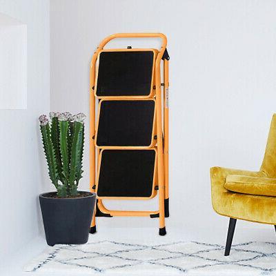 3 Steps Folding Ladder Kitchen Home Use Orange