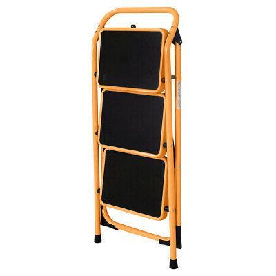3 Ladder Stool Folding Ladder Safety Kitchen Home 330lb Orange