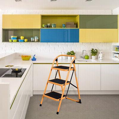 3 Stool Folding Kitchen Orange