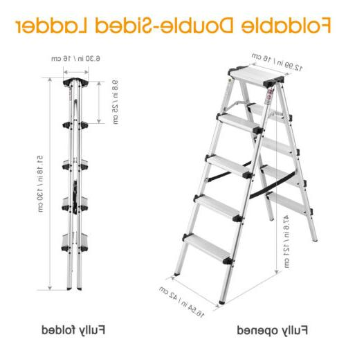 Finether Portable Compact Step Ladder Aluminum Folding Doubl