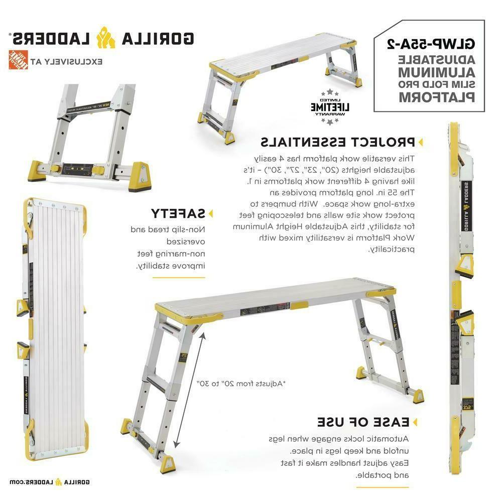 Gorilla Ladders x 2.52 Heavy-Duty Adjustable-Height Sl