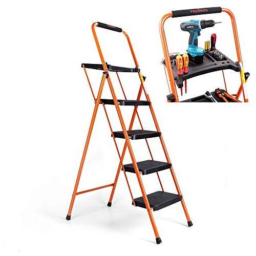 Astounding Horusdy 4 Step Ladder Platform Lightweight Folding Stool Pabps2019 Chair Design Images Pabps2019Com