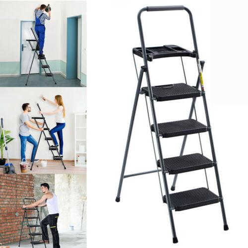 Finether 4-Steps Folding Heavy Duty Ladder Non-Slip Platform