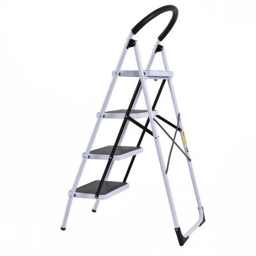 4 Folding Steel Step Stool Anti-slip Heavy with Capacity