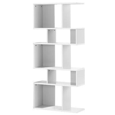 5 Cubes Ladder Shelf Room Divider 5-Tier Bookshelf Display R