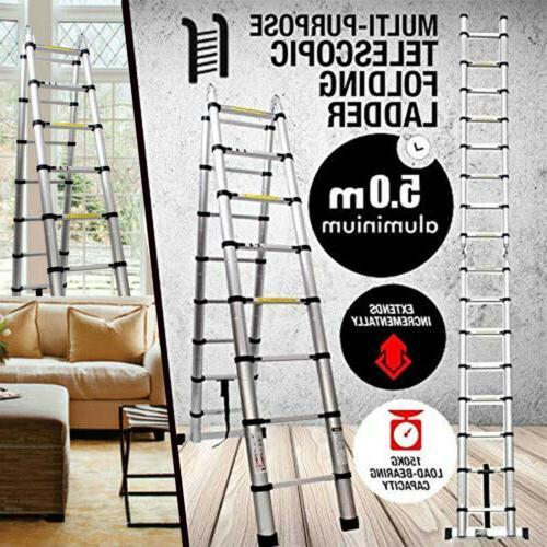 5M Aluminum Compact Folding Ladder 16 Steps
