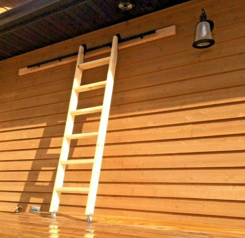 6 Ft Wood Library Loft Ladder Onwheels Plus Library Kit 6 6ft
