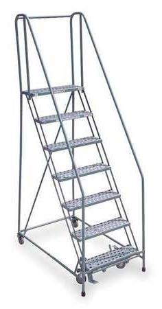 """7 Steps, 70"""" H Steel Rolling Ladder, 450 lb. Load Capacity"""