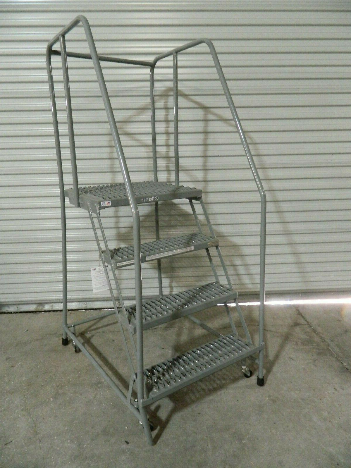 70 4 step rolling warehouse safety ladder