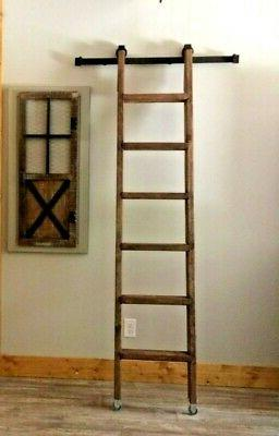 7 FT wood Rolling-Library/Loft Ladder PLUS LIBRARY KIT-6.6 F