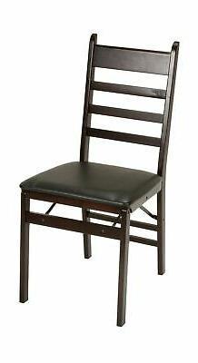 Cosco Espresso Wood Folding Chair with vinyl seat & Ladder B