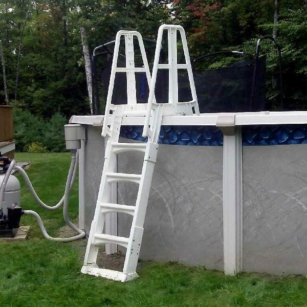 "Vinyl A Frame Ladder with for Swimming 56"" Tall White"