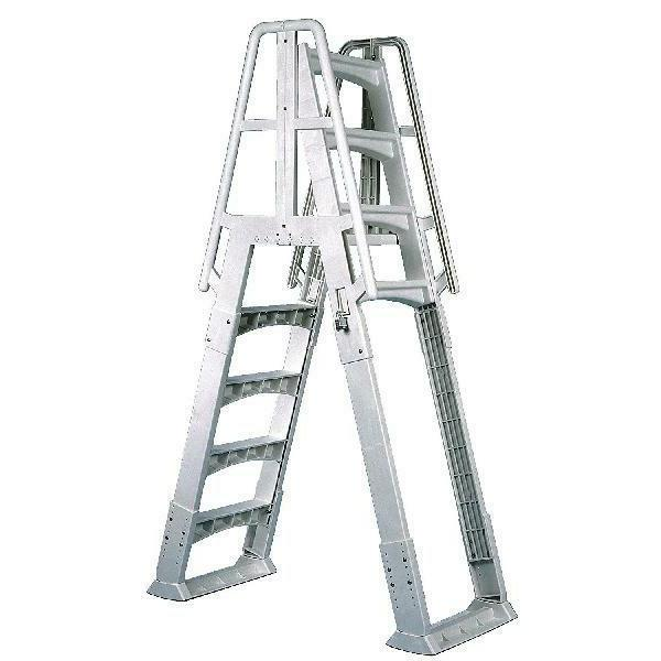 a frame ladder with barrier for swimming
