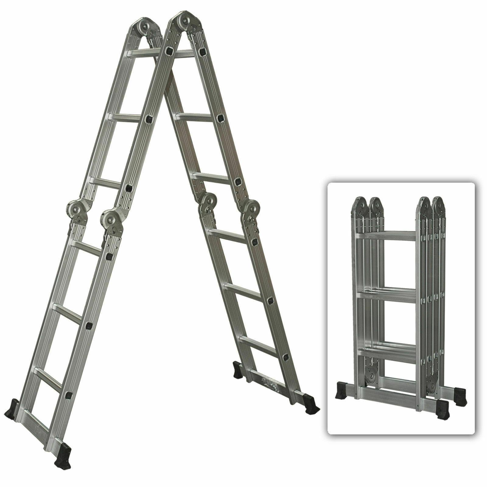 aluminum ladder folding step ladder extendable heavy