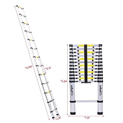 Ohuhu 12.5 Telescopic Extension Ladder, Buttons Certified Extendable Telescoping with Locking Mechanism Non-slip Pound