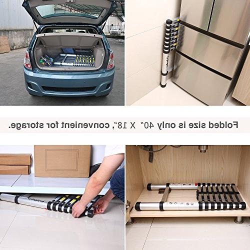 Ohuhu 12.5 Telescopic Ladder, Thumb Buttons Lock Design EN131 Certified Extendable Telescoping with Spring Loaded Mechanism Non-slip Pound