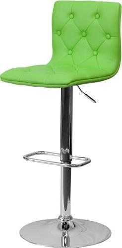 Contemporary Tufted Green Vinyl Adjustable Height Barstool w