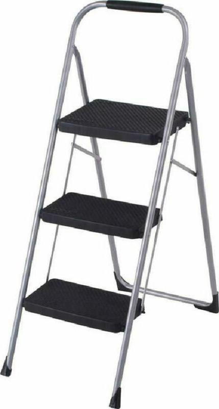 Cosco 11408Pbl1E Three Big Folding Step Stool With Rubber Ha