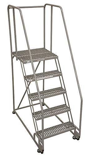"""Cotterman 5-Step Rolling Ladder, Perforated Step Tread, 80"""""""