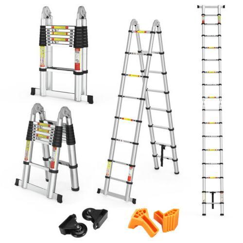 5M Heavy Duty Aluminum Folding Telescoping A-Frame Ladder EN