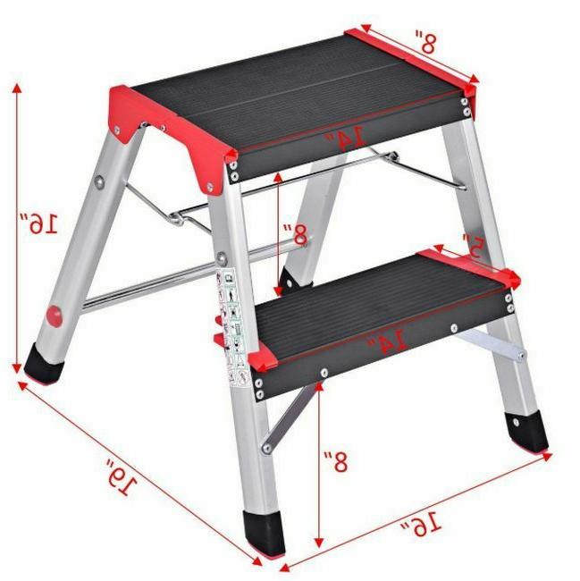 Fold-Up Step Stool Two Capacity Safety Slip