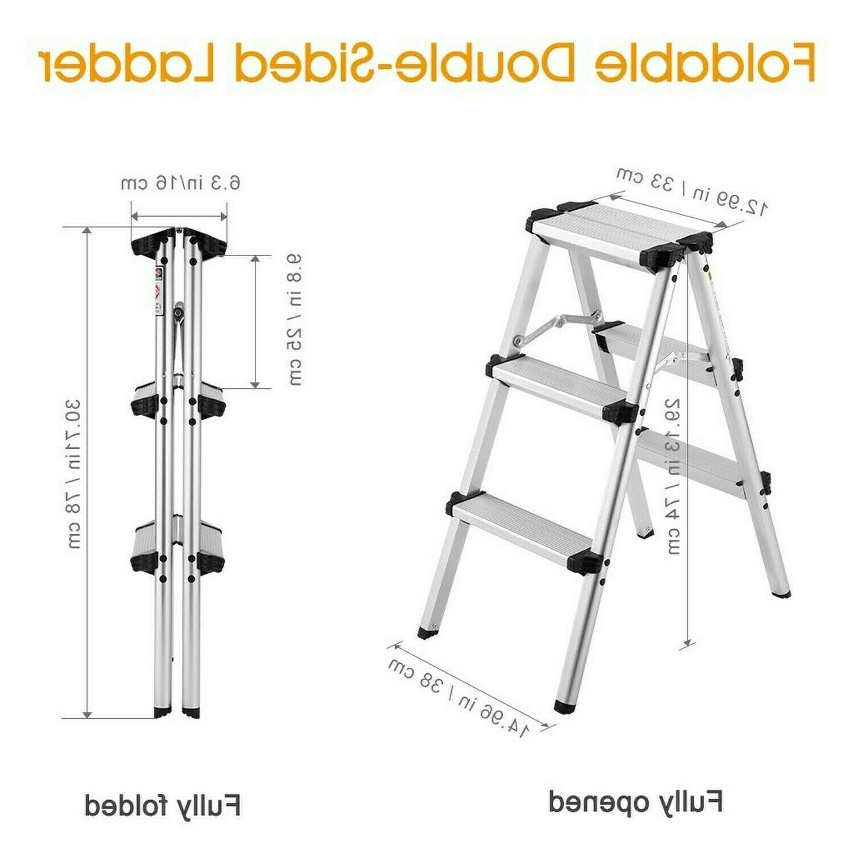 Finether Folding Step Aluminum Ladder 300lb Portable Step