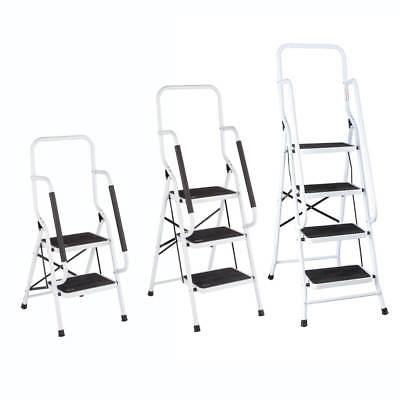 LivingSURE Folding 4-Step Safety Ladder Handrails – Kitchen and