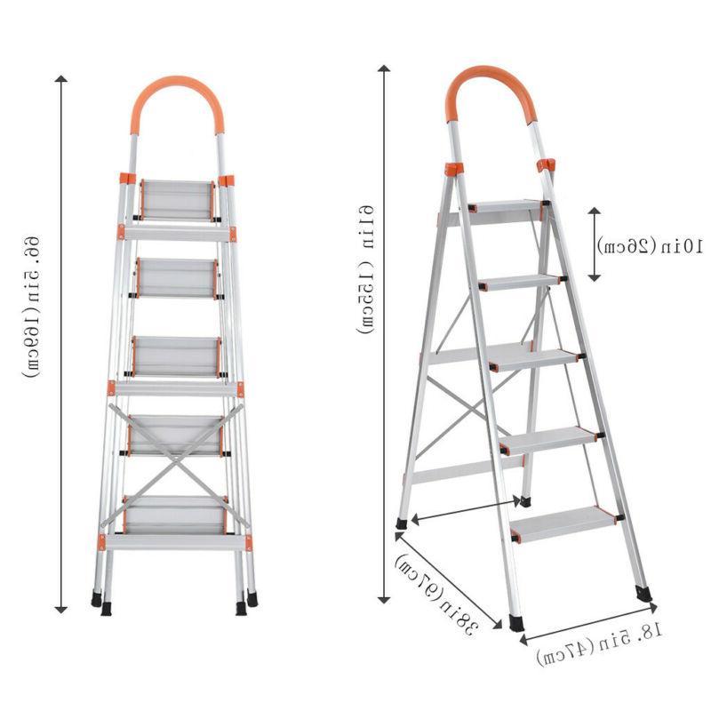 NEW 5 Step Ladder Heavy Duty Folding Stepladder Platform Sto