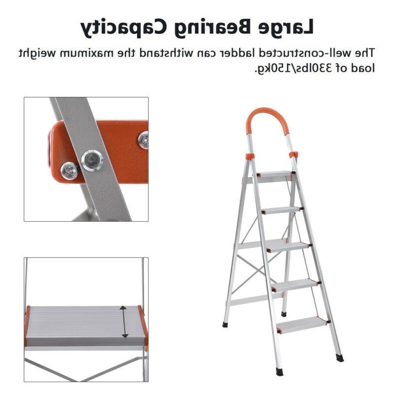 NEW 5 Heavy Folding Stepladder Platform Stool Non-slip