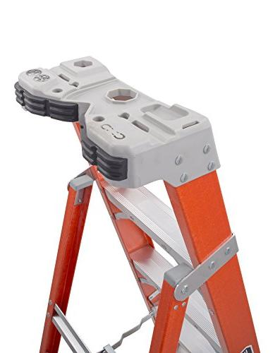 Louisville Ladder Fiberglass Step/Shelf Ladder, Orange,