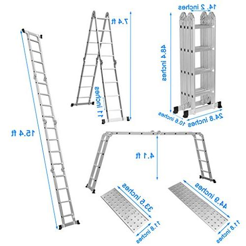 Finether 15.4ft Extension Ladder|Aluminum Ladder| Multi-Purpose Folding with Locking Hinges and 2 330 Lb Capacity