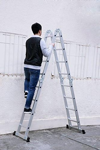 Finether 15.4ft Ladder| Multi-Purpose Ladder with Safety and 2 Panels,EN131 330 Lb