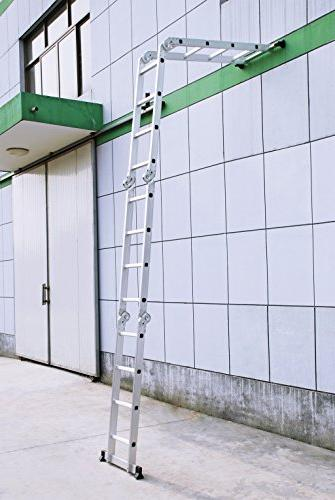 Finether Ladder|Aluminum with Safety Locking and 2 Panels,EN131 330 Capacity