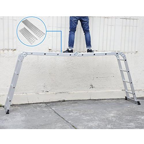 Finether 15.4ft Extension Ladder| Multi-Purpose with Hinges and 2 330 Lb Capacity