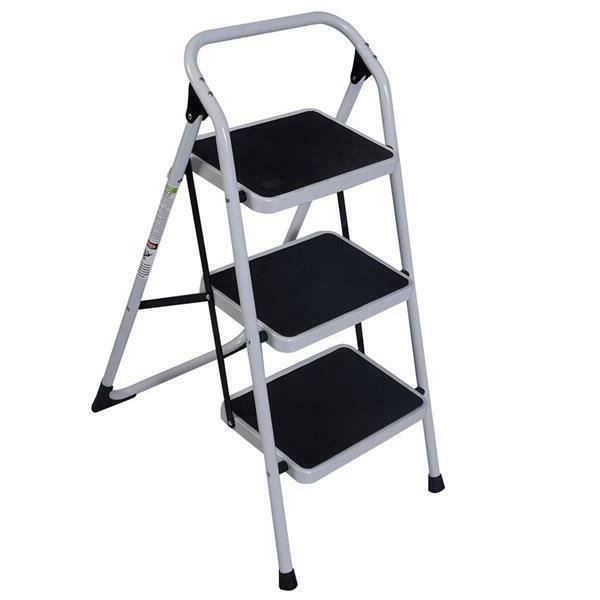 Home Use 3-Step Short Handrail Iron Ladder Black & White