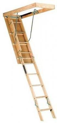 Louisville Ladder Premium 10' Open Ceiling Wood Attic Ladder