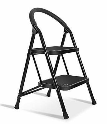 Lightweight 2 Ladder Step Stool Steel Folding Anti-Slip