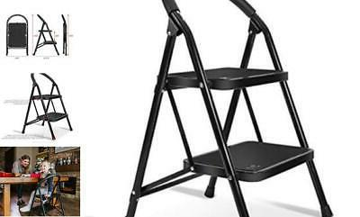 lightweight 2 step ladder step stool steel