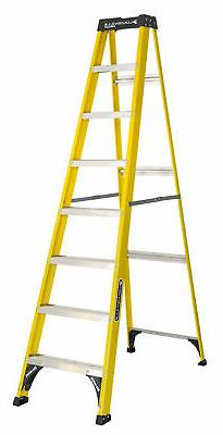 8 ft Step Ladder Fiberglass Type 1 Slip Proof Home Jobsite W