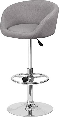 Modern Design Gray Fabric Adjustable Height Rounded Barstool