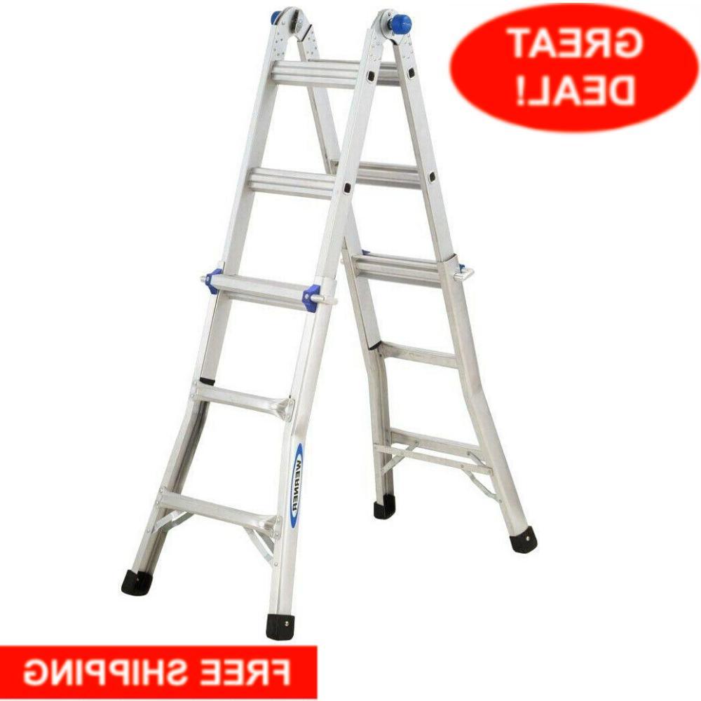 multi position ladder extension reach aluminum telescoping