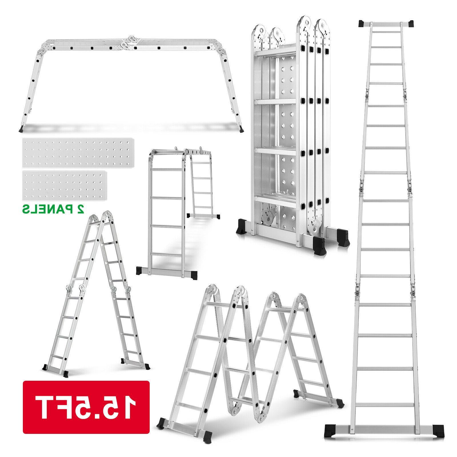 New 15.5/19.5FT Step Ladder Heavy Duty