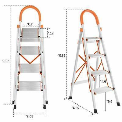 NEW Anti-slip 4 Aluminum Ladder Steel Load