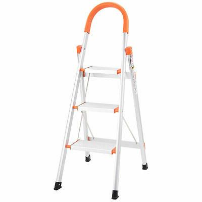 Non-slip 3 Step Aluminum Ladder Platform Stool 330 lbs Load New